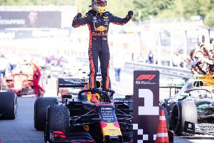 Max Verstappen celebrates his Austrian GP win