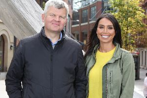 Adrian Chiles and Christine Lampard  PIC:Press Eye/Darren Kidd