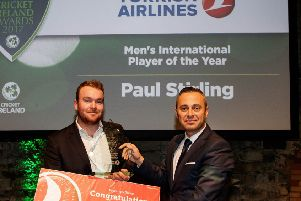 Turkish Airlines Men's International Player of the Year Paul Stirling presented by Hasan Mutlu General Manager Turkish Airlines Ireland  Mandatory Credit �INPHO/Ryan Byrne