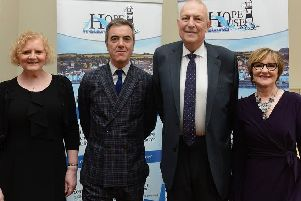 Trustee Maria Martin, actor James Nesbitt, and Managing Director of MIS Claims Alan Baillie with Dawn McConnell, Hope House co-founder.