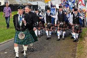 Billy Thompson leads the main Townland parade to the Fairhill during the 25th Ballycarry Broadisland Gathering in 2017. INLT 37-009-PSB