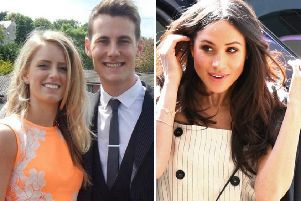 NI couple Jane Rainey and David Lewis and royal bride-to-be, Meghan Markle