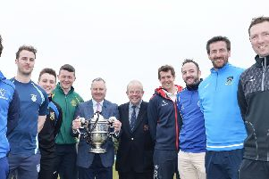 Representatives of all eight NCU Premier League clubs at the launch of the Robinson Services Premier League. From left are: Harry Boyd (Armagh), Michael Gilmour (Carrickfergus), John Matchett (CIYMS), Peter Davison (North Down), David Robinson (managing director Robinson Services), Richard Johnson (NCU Vice President), Greg Thompson (Waringstown), Neil Gill (Muckamore), James Kennedy (CSNI), Andrew White (Instonians). PIcture: Rowland White