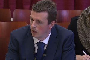 Stephen Brimstone giving evidence to an Assembly committee investigating his actions in relation to the firm Red Sky