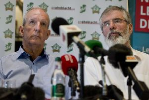 Sinn F�in's Bobby Storey and Gerry Adams pictured back in 2015.