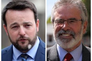 Colum Eastwood and Gerry Adams