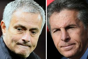Manchester United boss Jose Mourinho with his Leicester City counterpart Claude Puel