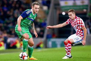 Northern Ireland's Lee Hodson (left). Pic by PressEye.