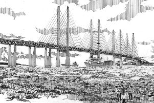 An artists' impression of how the proposed Celtic Crossing bridge between Northern Ireland and Scotland might look
