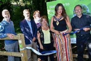 The Mayor of Mid and East Antrim Council, Cllr Lindsay Millar, officially opening the new trail at Straidkilly.