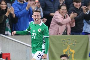 Northern Ireland's Gavin Whyte celebrates after scoring in their win over Israel.