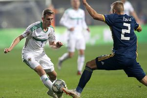 Northern Ireland's Gavin Whyte spurned an excellent opportunity to equalise against Bosnia & Herzegovina.