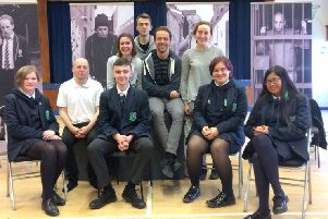 The Blackout team during a visit to Fort Hill Integrated College in Lisburn,