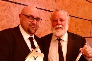 Steve Cavanagh at the Golden Dagger Awards with his literary hero Michael Connelly