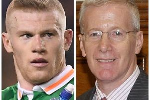 James McClean (left) and DUP MP, Gregory Campbell.
