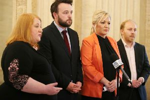 Party leaders in Northern Ireland come together at Stormont to make a statement regarding the ongoing issues around Brexit nack in May. (Picture by Jonathan Porter/PressEye)