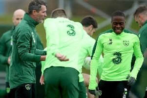 Republic of Ireland Assistant Manager Roy Keane and Michael Obafemi