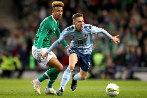 Republic of Ireland's Callum Robinson and Gavin Whyte of Northern Ireland