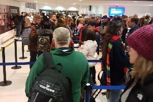 Passengers face a lengthy wait to get through security at Belfast International Airport. Pic courtesy of Michael McHugh