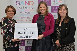 Maggie Jones; CIM Associate Director of Qualifications and Partnerships and Maureen Wincott, CIM Learning Partnership Manager congratulates Debbie Rymer Director SAND Marketing Academy on the expansion of her CIM Accredited Study Centre which now offers CIM courses and qualifications in Newry, Mourne and Down, Dundalk and the Causeway Coast and Glens region