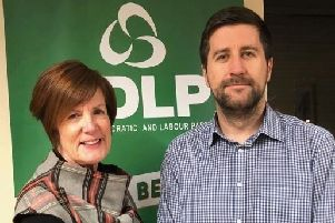 Cllr Wilson pictured with Glengormley SDLP representative, Cllr Noreen McClelland.