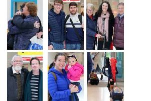 People arriving at Belfast City Airport before Christmas, on Friday December 21 2018. The dash back to Northern Ireland for the festive season even happened during the Troubles. Pics taken by PressEye