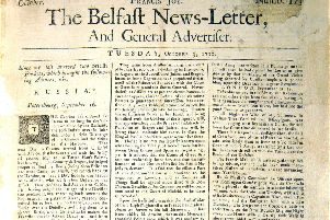 First surviving copy of world's oldest English language daily, Belfast News Letter, from October 1738. The paper was founded the previous year, in September 1737, but all the first 13 months of editions are lost