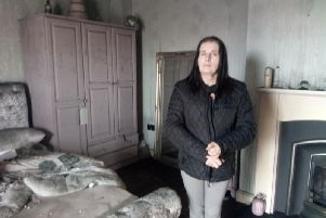 Caroline Gordon in her bedroom which was destroyed by the dense smoke