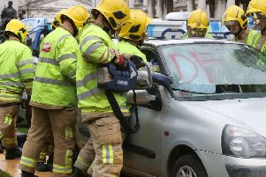 A car crash simulation at Belfast City Hall in October 2018, to drive home the road safety message to young people. Picture Pacemaker