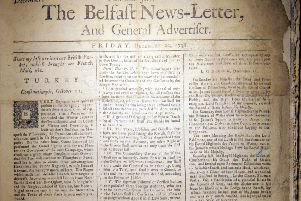 Belfast News Letter front page from December 22 1738, which is equivalent to January 2 1739 in the modern calendar. The new year then began in March