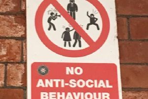 The photograph of the no anti-social behaviour sign in Ballymoney Train Station. (Photo: Sarah Laverty)