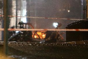 The mangled wreckage of the vehicle after a bomb exploded at Bishop Street, Londonderry