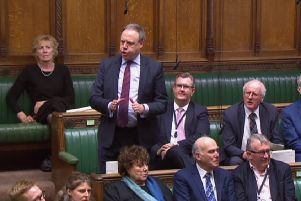 Nigel Dodds MP, the DUP leader at Westminster, speaking in the House of Commons alongside party colleagues shortly after the so-called Brady amendment to the Withdrawal Agreement, proposing to ditch the backstop, was backed by the House of Commons with DUP votes. Screengrab taken from Parliament.tv January 29, 2019
