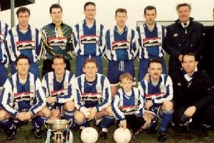 A young Dean Shiels pictured with the Coleraine side who won the First Division in 1995/96.