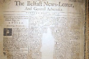 Front page of the January 23 1738 Belfast News Letter. The edition is in bad condition, with sections missing. The paper is equivalent to February 3 1739 in the modern calendar