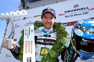 Alastair Seeley won both Supersport races and clinched a Superstock victory at the North West 200 in 2018 for a superb treble.