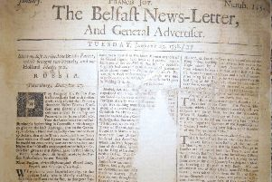 Front page January 23 1738 Belfast News Letter. The date is equivalent to February 3 2019 in the modern calendar. The edition is in bad condition, with sections missing, hence the uncertainty as to some of the wording in the original paper as reproduced below