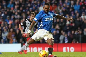 Jermain Defoe converts a penalty kick for Rangers in the win over St Mirren. Pic by PA.