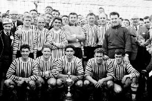 The Derry City team which won the Irish Cup in 1964 with victory over Glentoran at Windsor Park.
