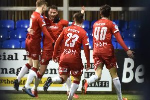 Stephen Lowry celebrates his goal against Dungannon Swifts.  Credit � Inpho/Stephen Hamilton
