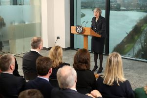 Prime Minister Theresa May delivers a speech at Allstate in Belfast on Tuesday February 5, 2019. In questions from the media afterwards, she sidestepped a question about Britain having failed to challenge the Irish narrative on the threat to the 1998 Belfast Agreement.  Photo: LIAM MCBURNEY/AFP/Getty Images
