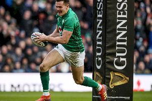 Jacob Stockdale goes over for a try for Ireland against Scotland
