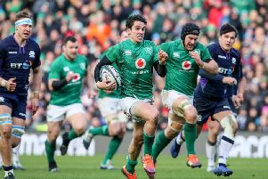 Ireland's Joey Carbery on the attack against Scotland