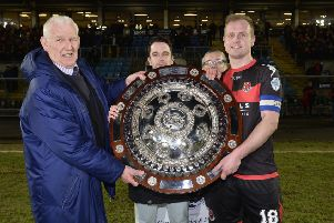 Crusaders won the Co Antrim Shield last year and will have home advantage for this year's final against Linfield