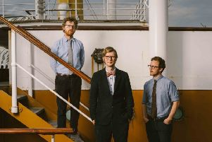 J Willgoose (centre) from Public Service Broadcasting will be in Belfast next week to launch the band's EP about the Titanic