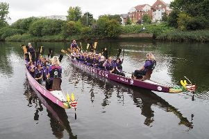 Lagan Dragons practising on the Lagan in Belfast