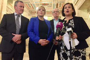 """Sinn Fein delegation: (left to right) Conor Murphy, Michelle O'Neill, Gerry Kelly and Mary Lou McDonald at Stormont after powersharing talks on Friday. Ms McDonald called the talks a """"sham"""". Photo: David Young/PA Wire"""