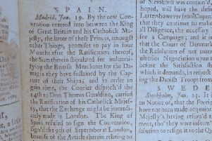 Belfast News Letter February 16 1738 (February 27 1739 in the modern calendar). This is the earliest surviving paper after the title went up from one sheet to two (from two sides of news to four)