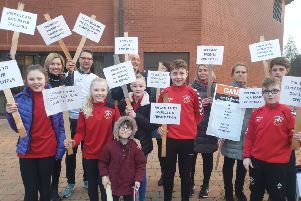 Young people were also involved in the protest at Craigavon Civic Centre
