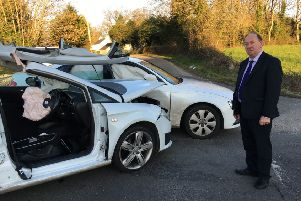 DUP MLA at Ardress crossroads where there was another crash on Tuesday